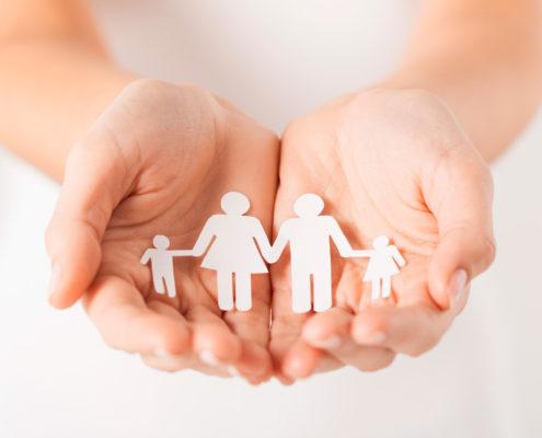 Handen met familie